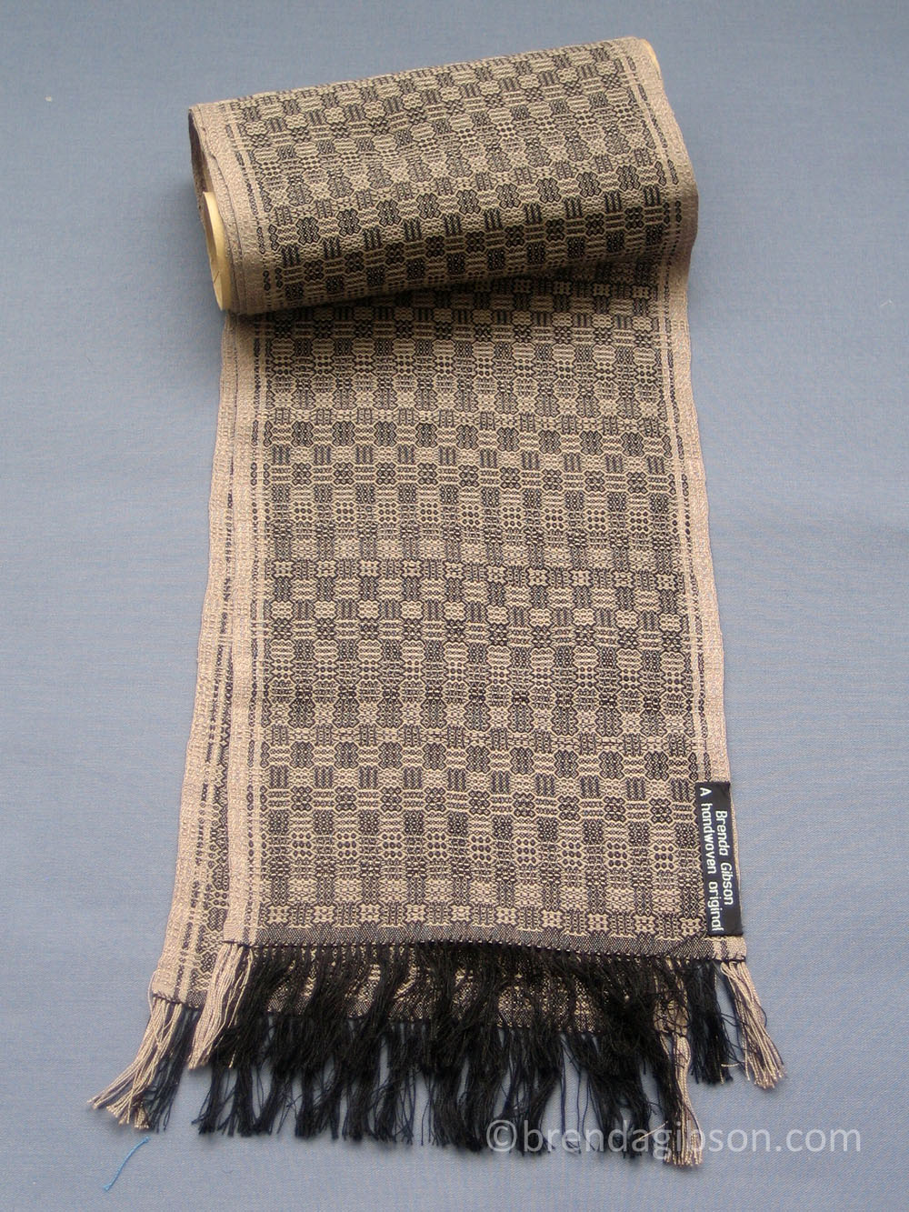 Silk scarf in fancy twill, black/ taupe. £150.00
