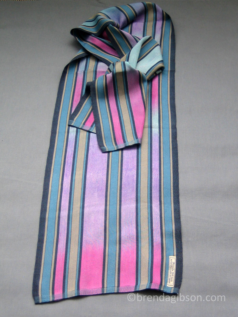Silk scarf with hand-dyed pink/ lilac warp.  £150.00