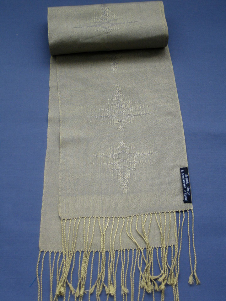 Silk scarf in crackle weave, green/ blue. £150.00