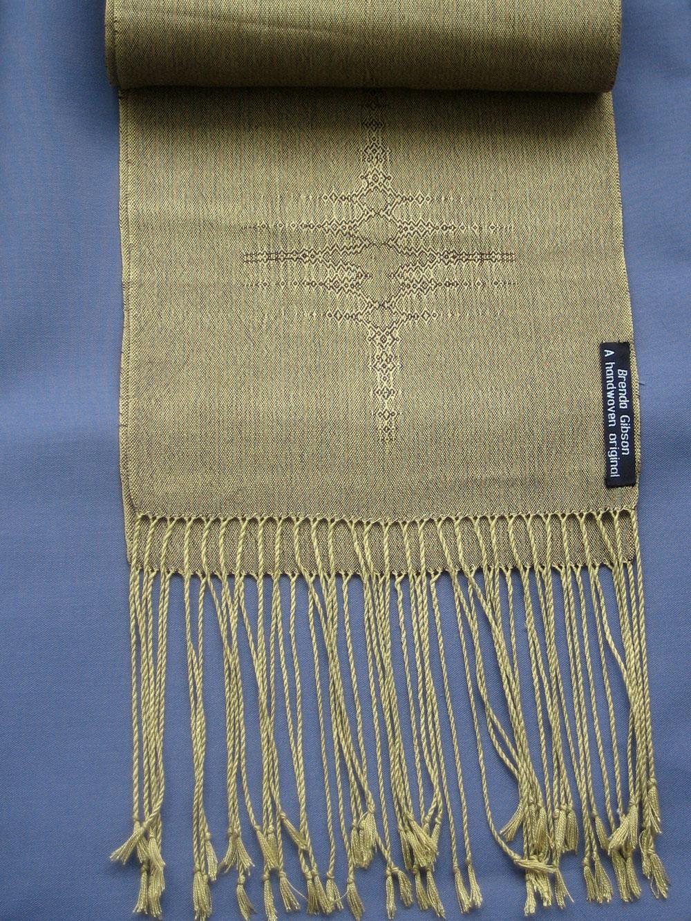 Silk scarf in crackle weave, green/ brown. £150.00