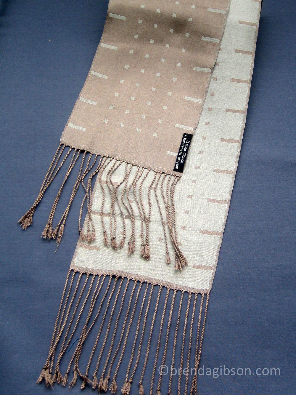 Silk scarf in satin blocks, pale blue/taupe. £150.00