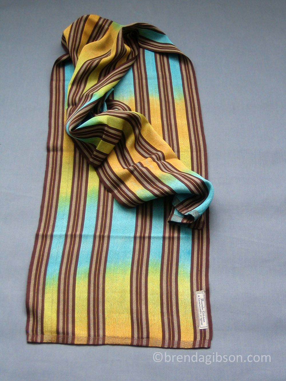 Silk scarf with hand-dyed gold/turquoise warp.  £150.00