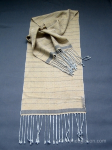 Silk scarf in huck lace weave. Sold